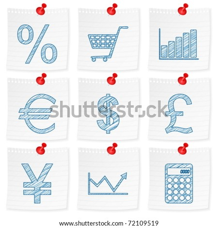 Paper note and drawing finances symbol on a white background. Vector illustration. - stock vector