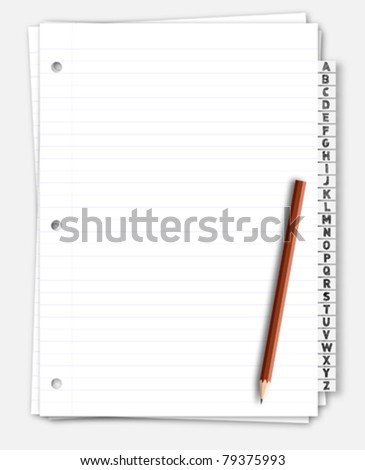 Paper note bookmark with pencil - stock vector