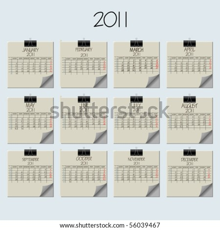 paper note calendar 2011, abstract vector art illustration