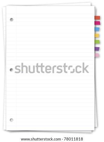 Paper note with color bookmark - stock vector