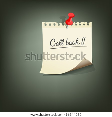 Paper note with text call back red pin vector illustration - stock vector