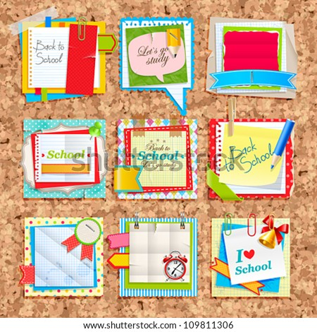 Paper notes on cork board. Scrapbooking elements. - stock vector