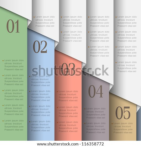 Paper numbered banners in  pastel colors. Vector design template - stock vector