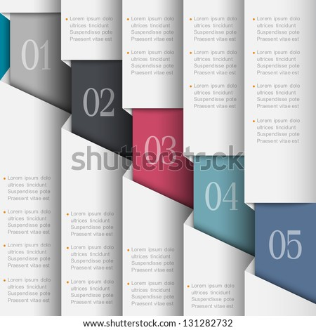 Paper numbered banners. Vector design template - stock vector