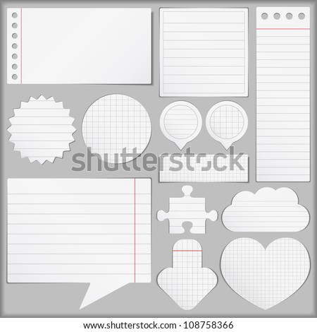 Paper objects set, vector eps10 illustration - stock vector