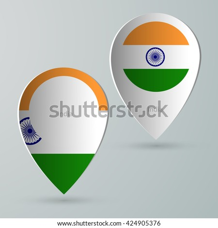 paper of map marker for maps and navigators india - stock vector