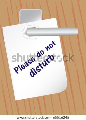 paper on door handle - stock vector