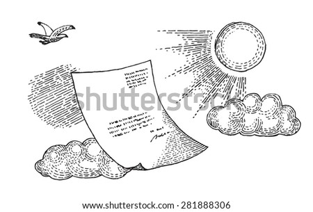Paper on the sky - stock vector