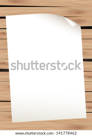 Paper on Wood Background - stock vector