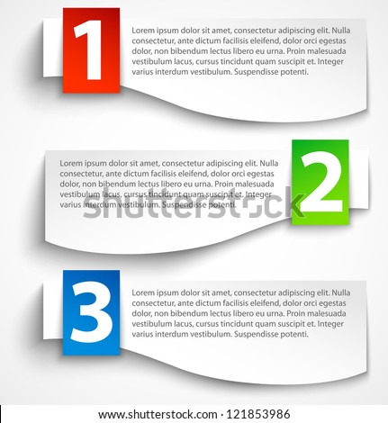 Paper options background, banners with shadow. Vector illustration - stock vector