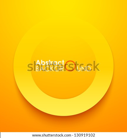 Paper orange circle banner with drop shadows. Vector illustration - stock vector
