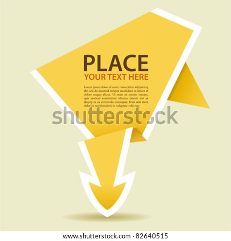 Paper Origami Arrow, element for design, vector illustration - stock vector
