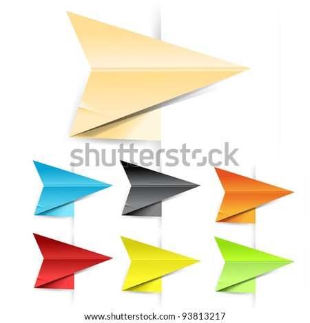 Paper origami arrows, easy to put on any colored background - stock vector