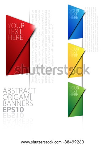 Paper origami banners - stock vector