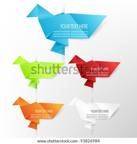 Paper origami dove speech bubble, easy to put on any colored background - stock vector