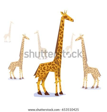 Paper Origami Giraffe Stylish Symbolic Vector Illustration