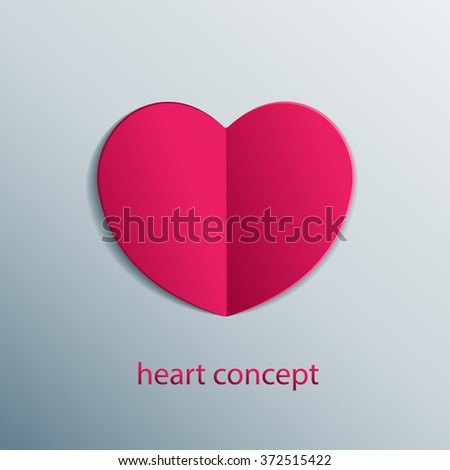 Paper origami heart concept. Shape of isolated vector heart. - stock vector