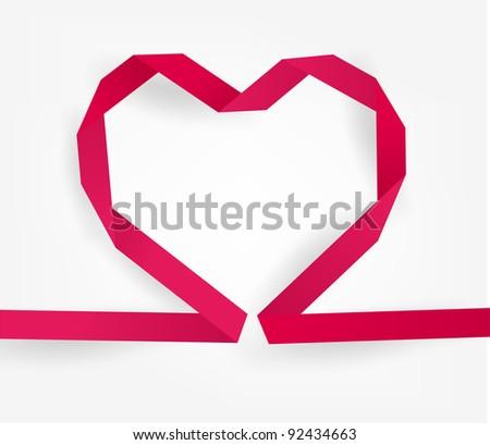 Paper origami heart, eps10 vector - stock vector