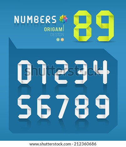 Paper origami numbers collections design on blue background, Vector illustration