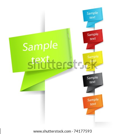 Paper origami speech bubble - stock vector