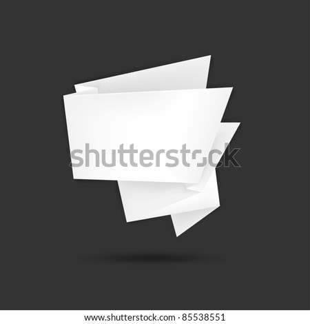 Paper origami speech bubble with black shadow on gray background. This vector illustration created in the technique of mesh