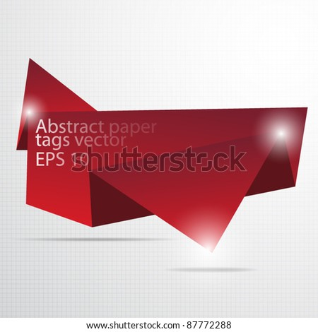 Paper origami tag vector - stock vector