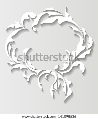 Paper oval frame in cut of paper style