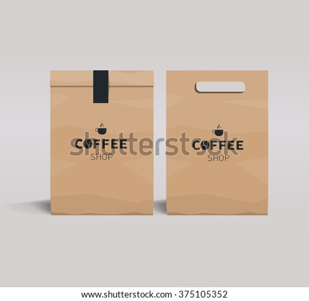 paper package design mock up template.cafe and restaurant packaging.  coffee badge logo  - stock vector