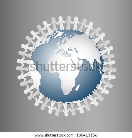 Paper People Holding Hands Around Globe  - stock vector