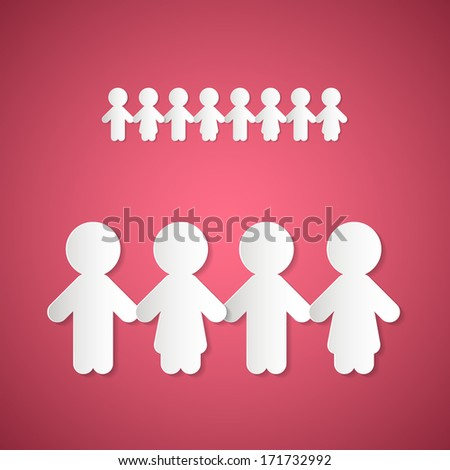 Paper People Holding Hands on Pink Background - stock vector