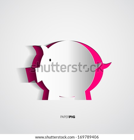 Paper pig created from paper - vector card - stock vector