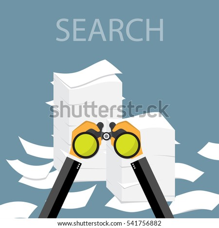 Paper pile flat illustration. Paperwork. Office routine. Search information.