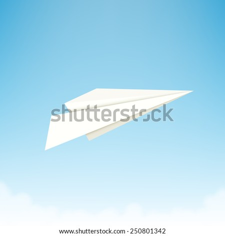 Paper plane against sky with clouds. Vector illustration