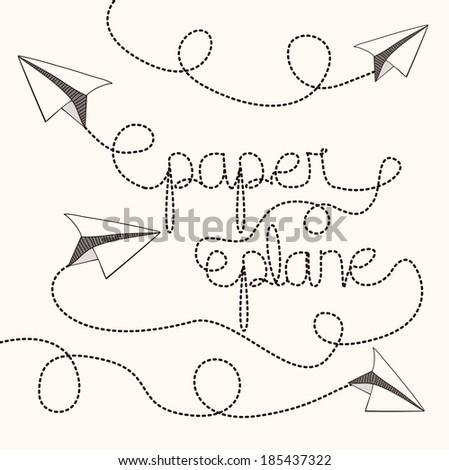 Paper plane design over white background, vector illustration - stock vector