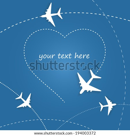 Paper plane drawing heart - stock vector