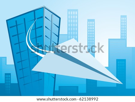 paper plane flying from an office building - vector image, all elements editable, scalable to any size, copyspace on the wings - stock vector