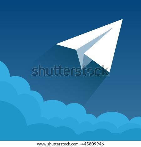 Paper plane in blue sky. Vector illustration of a flat design. Illustration for online stores. Illustration for presentations. Illustration for advertising. - stock vector