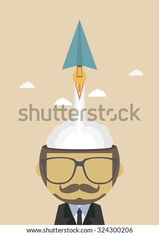 paper plane lanch from head to the sky , imagination concept - stock vector