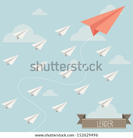 paper plane leader - stock vector