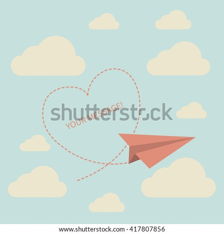 Paper plane leader.Paper plane on the sky with clouds and heart- Vector.Perfect for invitations, card, announcement or greetings. - stock vector