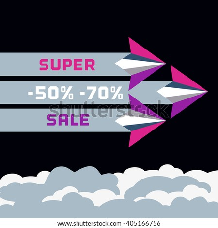 Paper plane. Super sale Concept. Paper airplane fly. Sale poster, discount banner. Travel super sale Special offer, sale season. Flights super sale. Sale, Bonus Marketing campaign. Vector illustration - stock vector