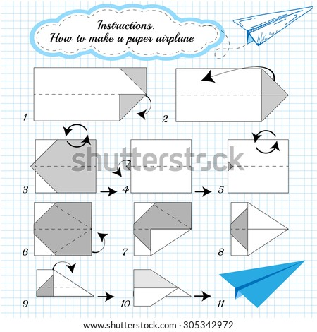 Paper Plane Tutorial Step By Step Stock Vector Royalty Free