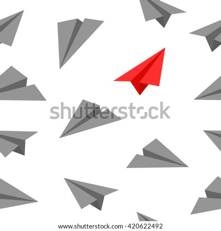 Paper Planes Seamless Background Pattern Wallpaper Business Up Win - stock vector