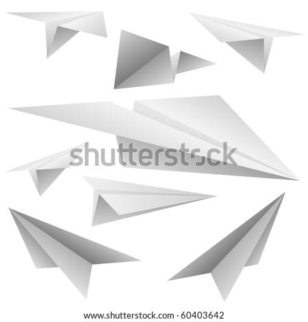 Paper planes vector set. - stock vector