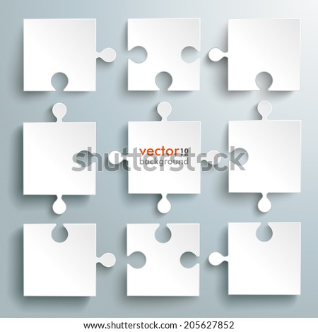 Paper puzzles on the grey background. Eps 10 vector file. - stock vector