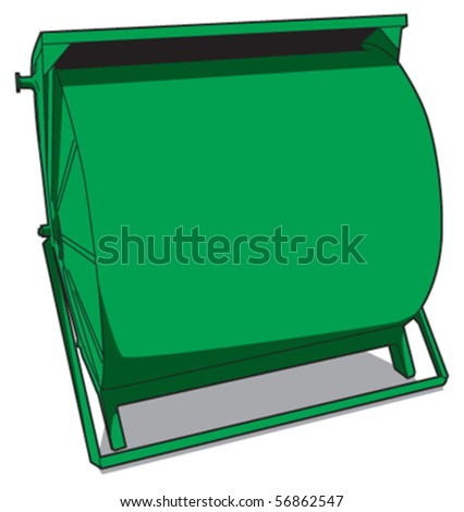 paper recycle bin front - stock vector