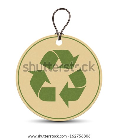Paper recycle tags isolated on white background - stock vector