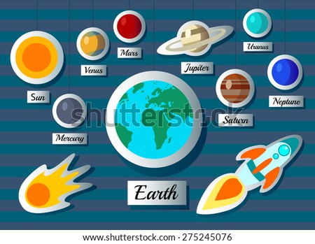 Paper rocket planets sun moon and stars. vector illustration - stock vector