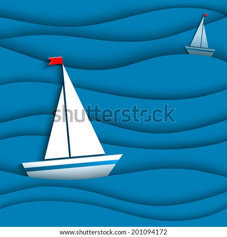 PAPER SAIL IN THE SEA - stock vector