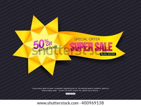 Paper Sale Banner Origami Sunflower Vector Stock Vector 400969138